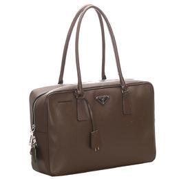 Prada Brown Saffiano Leather Bauletto Bag 296666