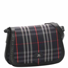 Burberry Blue/Black Plaid Canvas And Leather Shoulder Bag 296664