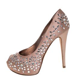 Gina Brown Satin Crystal Embellished Peep Toe Platform Pumps Size 39 297229
