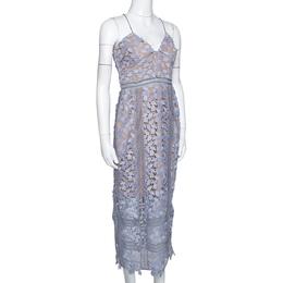 Self-Portrait Lilac Guipure Lace Arabella Midi Dress M 296612