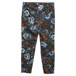 Dolce&Gabbana Grey Floral Print Cotton Tapered Pants S 296850