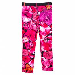 Roberto Cavalli Pink Floral Print Stretch Cotton Pants S 296843