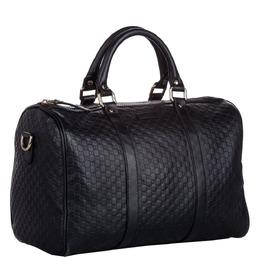 Gucci Black Microguccissima Leather Boston Bag 296762