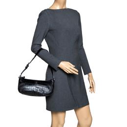 Aigner Black Crocodile Embossed Leather Shoulder Bag 296942