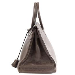 Hermes Brown Clemence Leather Palladium Hardware Birkin 35 Bag 293936