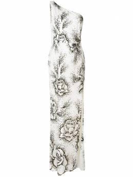 Marchesa Notte платье на одно плечо с цветочным принтом N38G1189