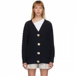 3.1 Phillip Lim Navy Wool Cable Knit Cardigan P202-7337COC