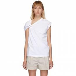 3.1 Phillip Lim White Gathered Shoulder T-Shirt P202-1418NHJ