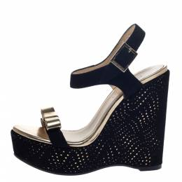 Jimmy Choo Black/Gold Suede And Leather Nice Wedge Platform Sandals Size 36 297359
