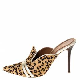Malone Souliers Brown Leopard Print Pony Hair And Leather Hayley Mules Size 39.5 296994