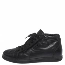 Prada Sport Black Leather Lace up Sneakers Size 35.5 297153