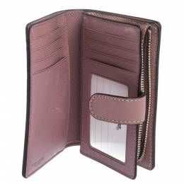 Coach Pink Textured Leather Compact Wallet 297419