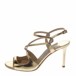 Jimmy Choo Gold Mirror Leather Paxton Cross Strap Sandals Size 37.5 297410