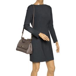 Dolce&Gabbana Grey Leather Medium Miss Sicily Top Handle Bag 297707