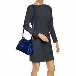 Dolce&Gabbana Blue Leather Medium Miss Sicily Top Handle Bag 297705
