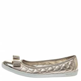 Salvatore Ferragamo Metallic Gold Quilted Leather Rufina Vara Bow Ballet Flats Size 38 297389