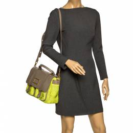 Marc By Marc Jacobs Neon Green/Grey Woven Patent Leather and Nylon Werdie Top Handle Bag 297388