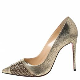 Christian Louboutin Gold Textured Leather Spiked Bareta Pumps Size 38 297382