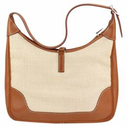 Hermes Brown Canvas and Leather Trim 31 Bag 297567