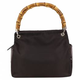 Gucci Dark Brown Fabric and Leather Bamboo Top Handle Bag 297566