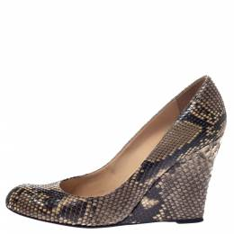 Christian Louboutin Beige/Brown Python Leather Ron Ron Wedge Pumps Size 40 297353