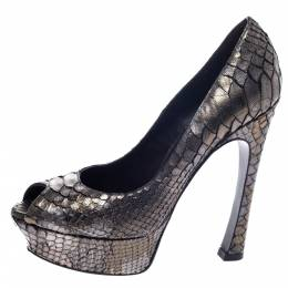 Saint Laurent Metallic Grey Python Leather Palais Peep Toe Platform Pumps Size 39 297354