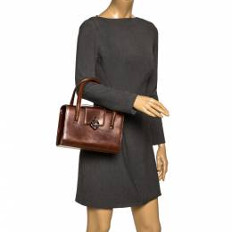 Cartier Brown Patent Leather Panthere Box Bag 297169