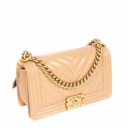 Chanel Tan Chevron Quilted Leather Medium Boy Flap Bag 297585