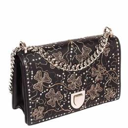 Dior Black Leather Embellished Medium Diorama Shoulder Bag 297587