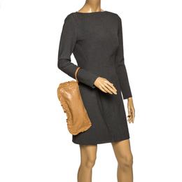Miu Miu Caramel Brown Leather Ruffle Wristlet Clutch 297349