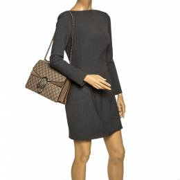 Gucci Beige GG Supreme Canvas and Suede Medium Dionysus Shoulder Bag 297332