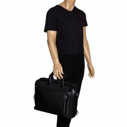 Tumi Black Nylon and Leather T-Pass Kennedy Deluxe Brief Laptop Bag 297005