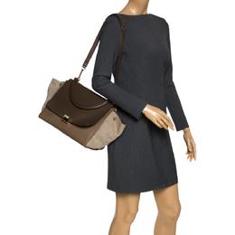 Celine Tri Color Leather and Canvas Medium Trapeze Bag 297649