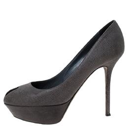 Sergio Rossi Grey Textured Suede Peep Toe Platform Pumps Size 39.5 297475