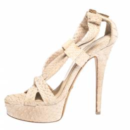 Burberry Beige Python Leather Cross-Over Strap Platform Sandals Size 36 297210