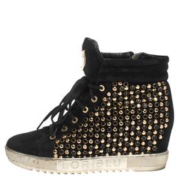 Loriblu Black Suede Crystal Embellished High Top Sneakers Size 38 297502