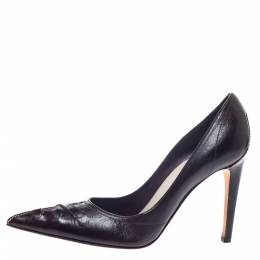 Saint Laurent Brown Leather Pointed Toe Pumps Size 37 297406