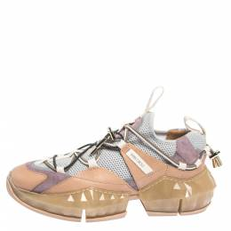 Jimmy Choo Multicolor Leather And Mesh Diamond Trail Sneakers Size 40 297225