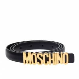 Moschino Black Leather Logo Belt 100CM 297530