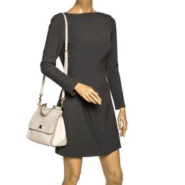 Dolce&Gabbana White Leather Medium Miss Sicily Top Handle Bag 297529