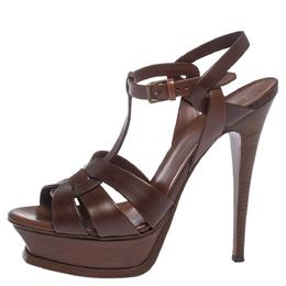 Saint Laurent Brown Leather Tribute Platform Ankle Strap Sandals Size 38 297522