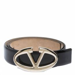 Valentino Black Patent Leather Logo Platino Belt 85cm 297421