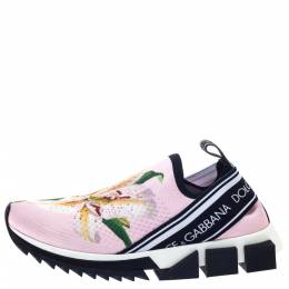 Dolce&Gabbana Pink Stretch Fabric Sorrento Low Top Sneakers Size 38.5 297424