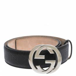 Gucci Black Guccissima Leather Interlocking G Belt 95CM 297430
