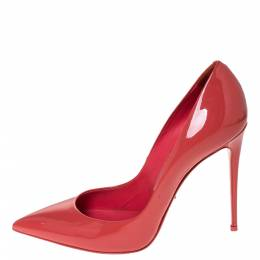 Dolce&Gabbana Coral Pink Patent Leather Pointed Toe Pumps Size 39 297435