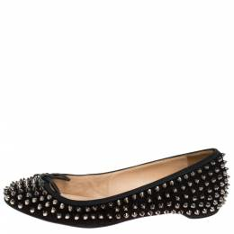 Christian Louboutin Black Suede Spiked Big Kiss Ballet Flats Size 40 279694
