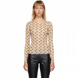 Marine Serre Beige and Black Moon Allover Long Sleeve T-Shirt T068FW20W