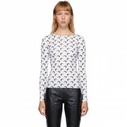 Marine Serre White and Black Moon Allover Long Sleeve T-Shirt T068FW20W