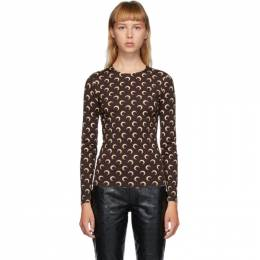 Marine Serre Brown and Beige Moon Allover Long Sleeve T-Shirt T068FW20W