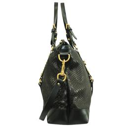 Gucci Black Python Leather Suede Patti Tote Bag 297144